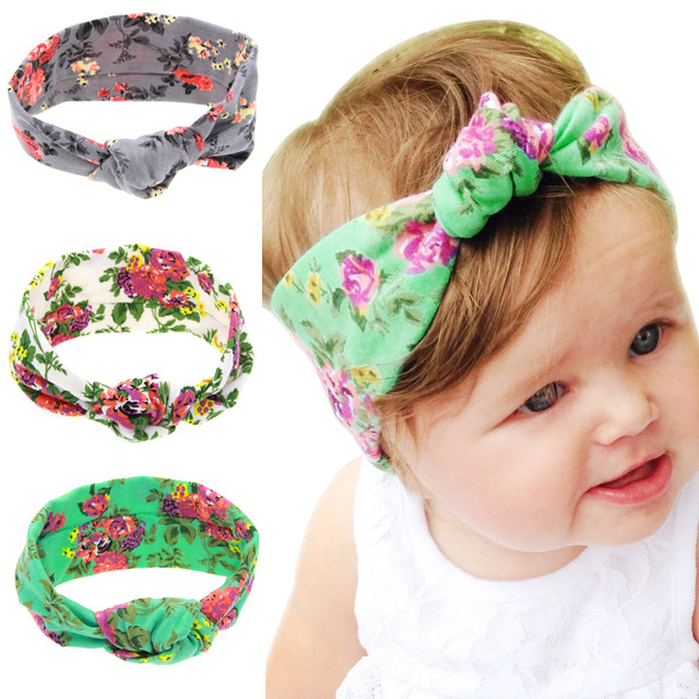 a28850681cb Fashion Floral Print Children Tie Knot Headband Knitted Cotton Elastic Baby  Girls Hair Band Toddler Turban
