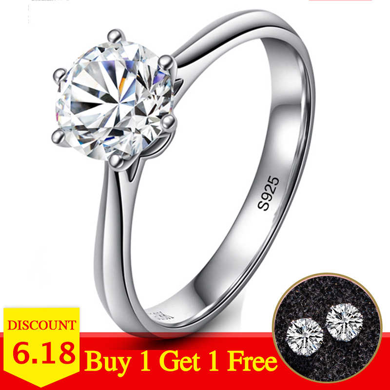 NOT FAKE YES I DO Classic Simple 1 Carat Dream Proposal Ring S925 Sterling silver Diamond 925 boutique Solitaire round cut 6 claws