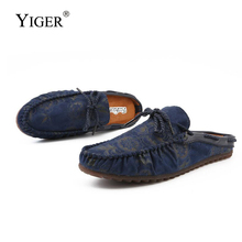 YIGER New men Slippers Cow suede man Trend peas shoes mens loafers slippers summer male Retro dress  282