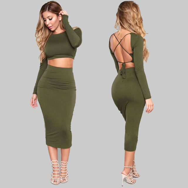 2019 Summer Women Crop Tops And Midi Slim Pencil Skirt Two Piece Set Sexy Round Neck Long Sleeve Bodycon Party Suits