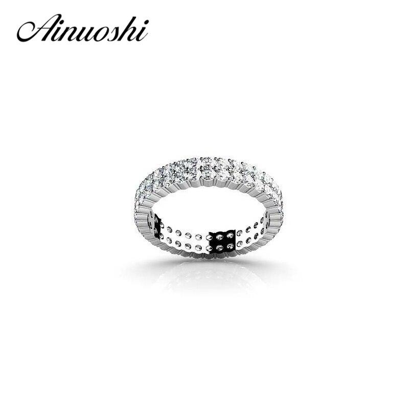 AINOUSHI bague éternité complète 2 forets rangée de mariage 925 bagues en argent Sterling pour les femmes bague de fiançailles anniversaire bijoux de mode