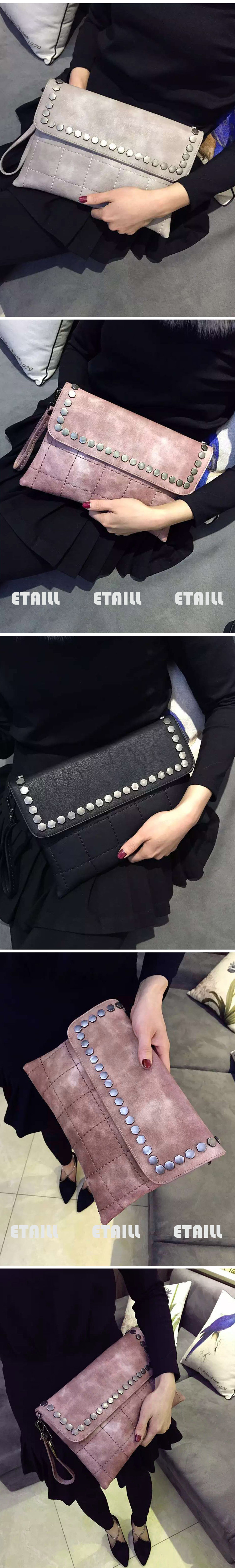 Genuine Leather Bags Rivet Messenger Bags