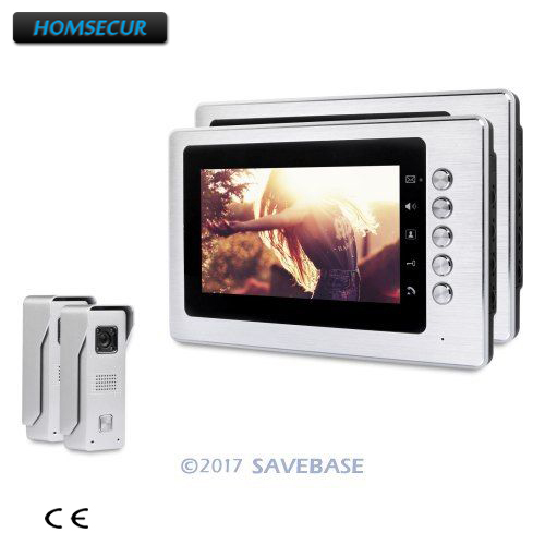 HOMSECUR 7inch Color Video Door Entry Call System with IR Night Vision + Intra-monitor Audio Intercom