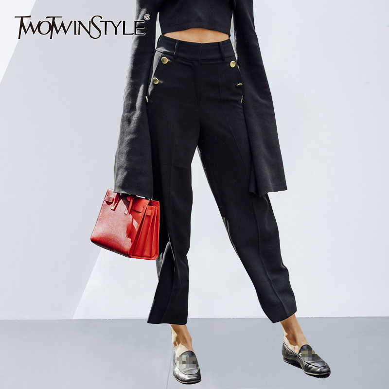 TWOTWINSTYLE Gold Buttons Black   Wide     Leg     Pants   Female Summer High Waist Ankle Length Casual Women Trousers Europe Style Fashion