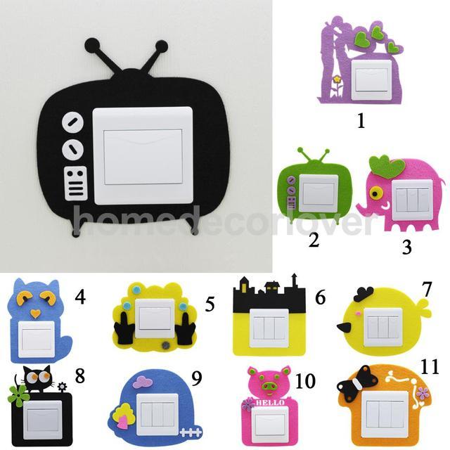 8pcs Light Switch Plug Socket Surround Cartoon Sticker Cover Outlet Home Decor Various Patterns