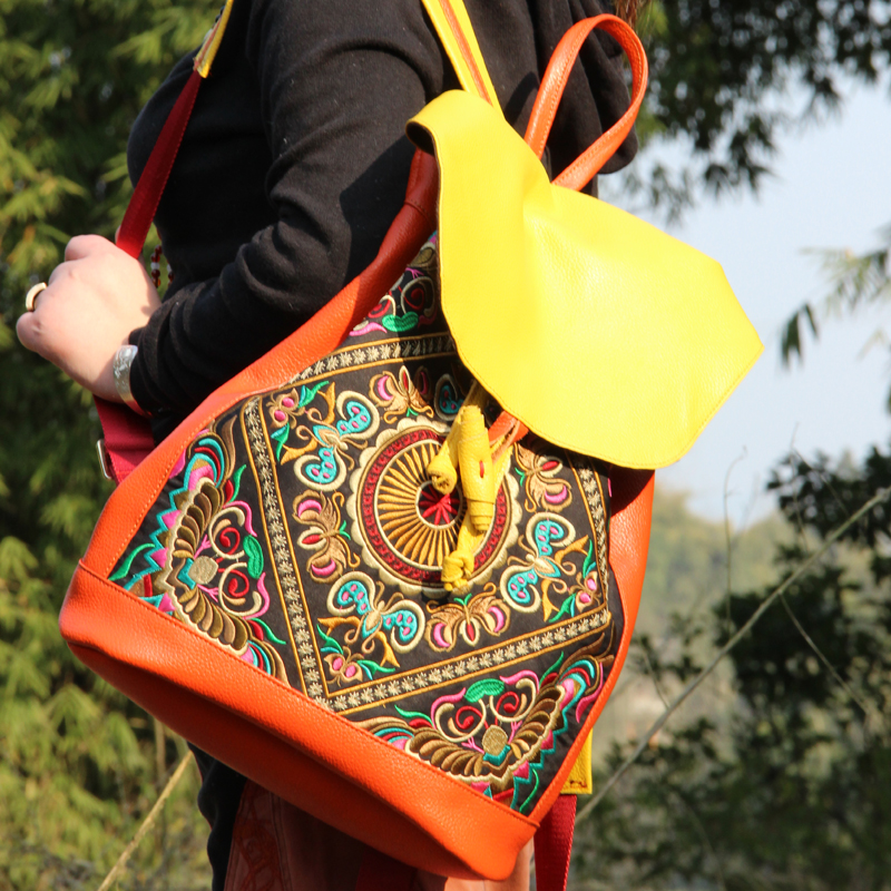 Special offer bags Bohemian embroidered genuine Leather women backpack fashion handmade travel backpack