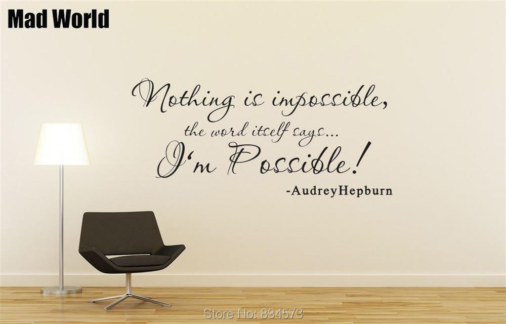 NOTHING IS IMPOSSIBLE Audrey Hepburn Quote Wall Art Stickers Wall Decal Home DIY Decoration Removable Room Decor Wall Stickers