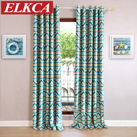 Blue Geometric Printed Blackout Curtains For Living Room Modern Style Window Blinds Kids Curtains For Bedroom