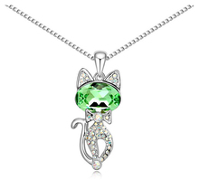 Women's Crystal Pendant Necklace with Cat