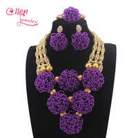 New Design Chunky Bib Purple Crystal Sets Nigerian African Wedding Bridal Women Beads Necklace Jewelry Set