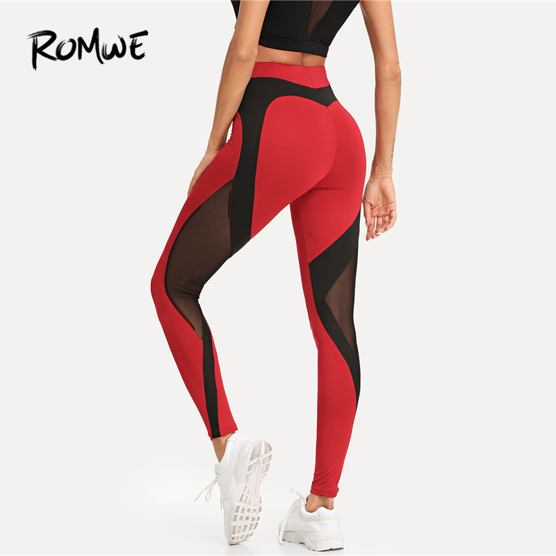 ROMWE Contrast Mesh Skinny   Leggings   2019 Fashion Female Pants Red And Black Fitness Women Ankle Length Sexy Trousers