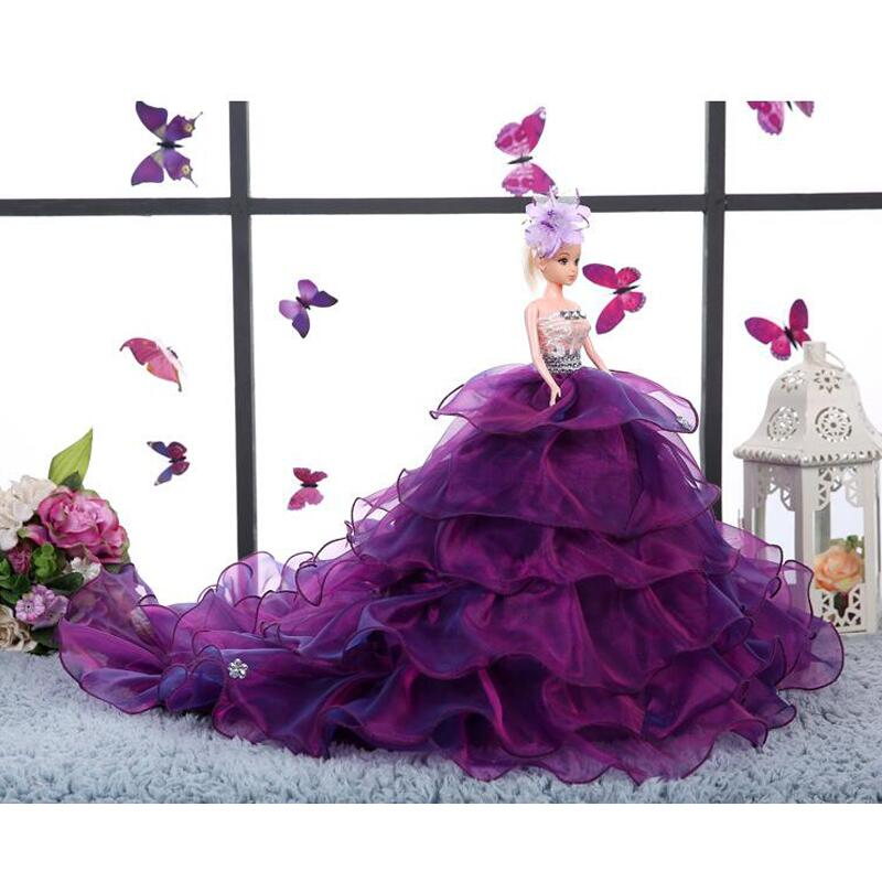 Beautiful Barbie Doll Wedding Dress Big Trailing Girl Princess Toy Children Birthday Gift Married Furnishing Articles uyue 948q 110 220v built in pump vacuum metal body glass lcd screen separator machine max 7inches cutting wire 50m silicon plate
