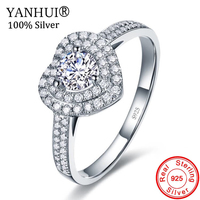 11.11 Big 100% Solid 925 Sterling Silver Rings Heart Shape CZ Diamant Fashion Engagement Wedding Ring Jewelry For Women YJ2904