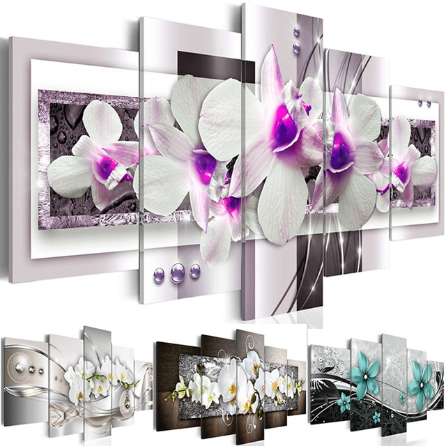 Modern Canvas Art Painting 5 Pieces Wall Pictures White and Purple Orchid Flower Canvas Printed Modular Poster Decor Living Room
