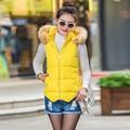 Winter Womens Slim Vest  Down Cotton Jacket Sleeveless Fur Collar Hooded Vest Waistcoat Winter Warm Zipper Coat Plus Size Outwe