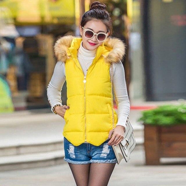 Invierno para mujer delgada abajo Chaleco de algodón sin mangas de piel de  cuello chaleco con 67f14e977761