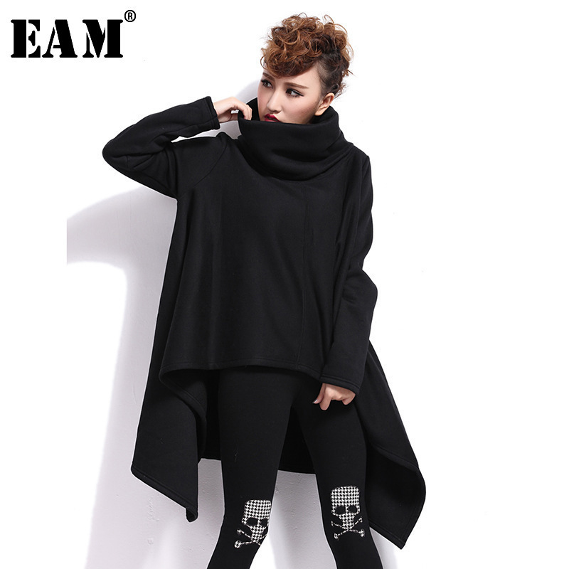 [EAM] 2018 New Spring High Collar Long Sleeve Gray Loose Big Size Irregular Hem Thickening Sweatshirt Women Fashion JG638