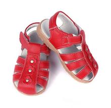 2016girls sandals genuine leather toddler shoes red pink white  closed toe summer flowers fashion durable quality baby