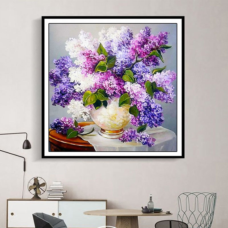 5D DIY Diamond Painting Flowers Cross Stitch Embroidery Mosaic Diamonds Purple Lavender Flower Home Decor,