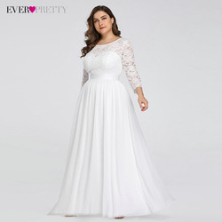 Plus Size Wedding Dresses Elegant A-Line Lace Long Beach Vintage Bridal Dress with Sleeve Ever Pretty EP07412 Vestido de Noiva 3