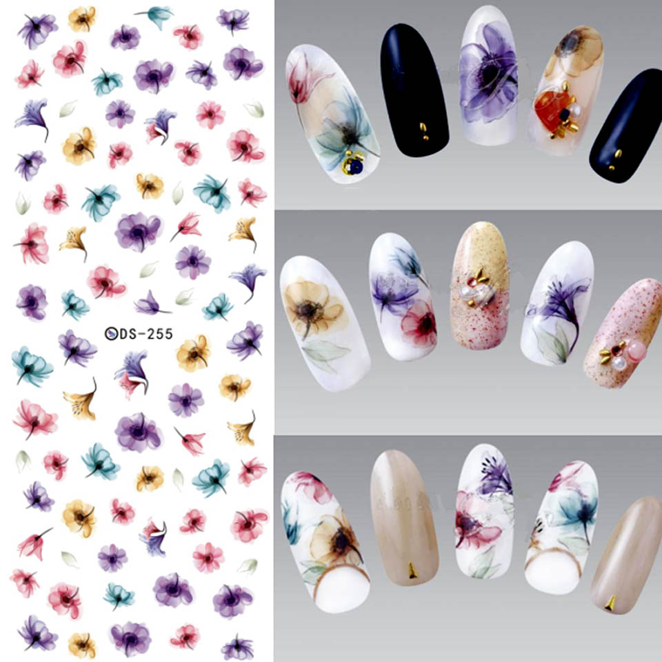 Flowers Nails Art Sticker Water Transfer Stickers for Nails Wraps Water Decals Manicure Stickers Nail Art DIY Design ZJT001 12 models set gold 3d design christmas nail sticker bling bows nail art manicure stickers decals for women nails decoration
