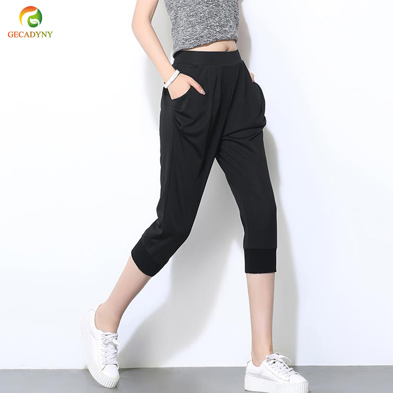 2019 Plus size S-6XL Women   Pants     Capris   Summer Fashion   Pants   Stretch Elastic Waist Loose Harem   Pants   Trousers Black Casual   Pants