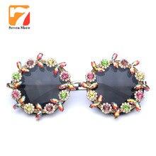 2017 nueva Moda Hecha A Mano del diamante de Las Mujeres gafas de Sol de Diseño de Marca de Lujo de Cristal Ronda Barroco gafas de sol Gafas De Sol Feminino Muje