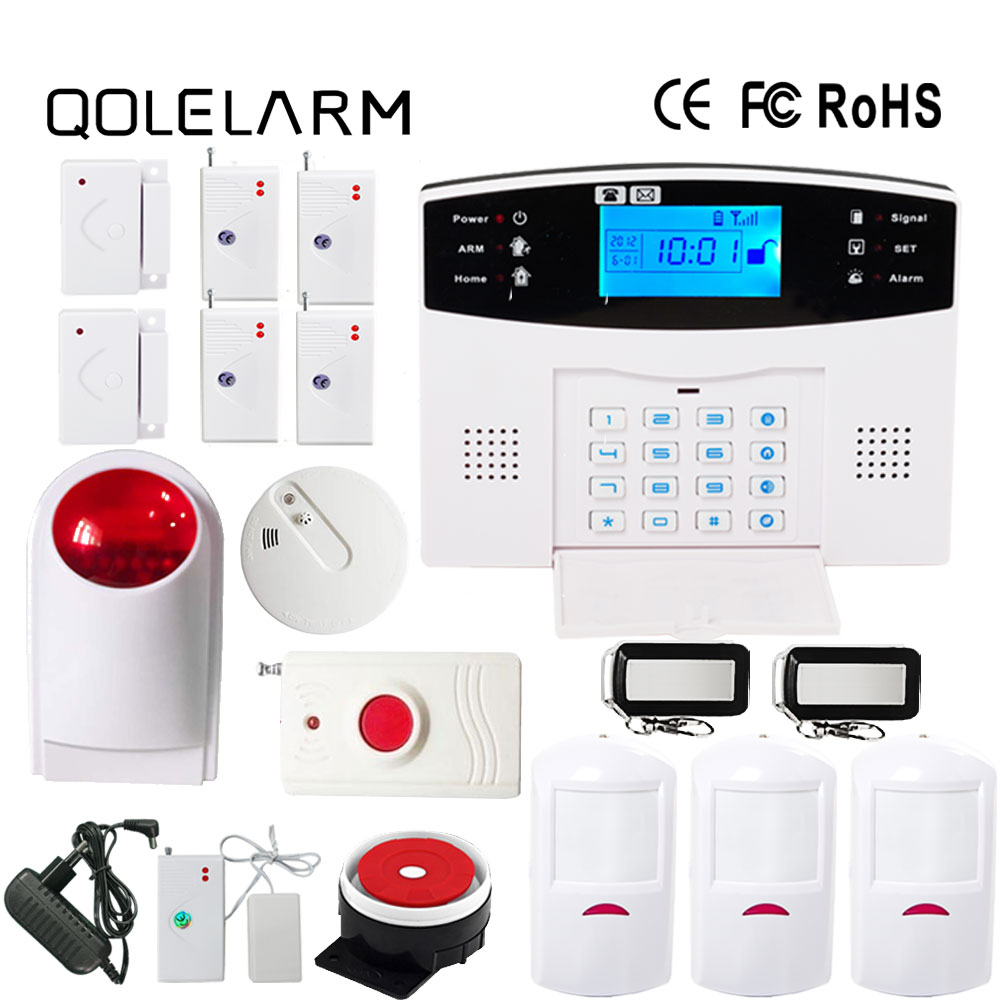 Russian/Italian/Czech/Spanish/French voice prompt gsm alarm system home security alarm systems with outdoor siren smoke sensor