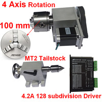 4 Axis Rotation A Axis Rotary 100mm Chuck& Driver & Nema23 Stepper Motor& Tailstock Kits for Wood Metal Plastic CNC Router