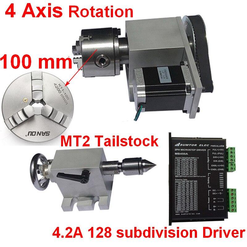 4 eixo de Rotação de UM Eixo Rotativo 100mm Stepper Motor & Tailstock Chuck & Driver & Nema23 Kits para a Madeira metal Router CNC de Plástico