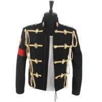 NEUE MJ Michael Jackson Royal England Military Schwarz Woolen Formale Kleid Jacke Seltene Gabe Leistung Sammlung