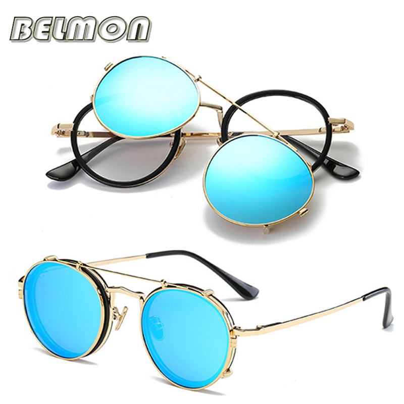 Image 5 - Steampunk Googles Eyeglasses Spectacle Frame Men Women With Polarized Clip On Sungllasses For Female Male Vintage Glasses RS170frames menspectacle frame manspectacle frame -