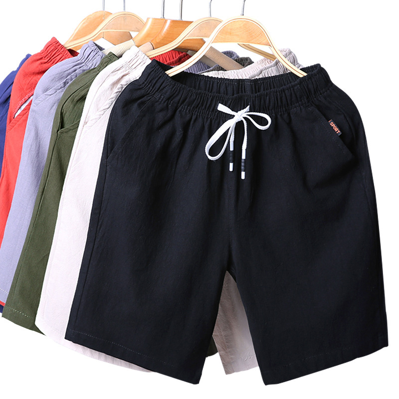 SHUJIN   Short   Hombre Mens Summer Casual Linen   Shorts   Sportwear   Short   Man Elastic Waist Breathable Korean Solid Beach Masculino