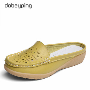 Image 2 - dobeyping Cut Outs Summer Woman Shoes Genuine Leather Women Flats Hollow Womens Loafers  Soft Mother Moccasin Shoe Size 35 41