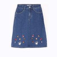 2019 summer women's strapless letter embroidered short sleeved t shirt denim skirt Harajuku Boyfriend Casual Skirts