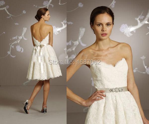 novia sin tirantes de encaje vestidos novia corto rodilla fajas
