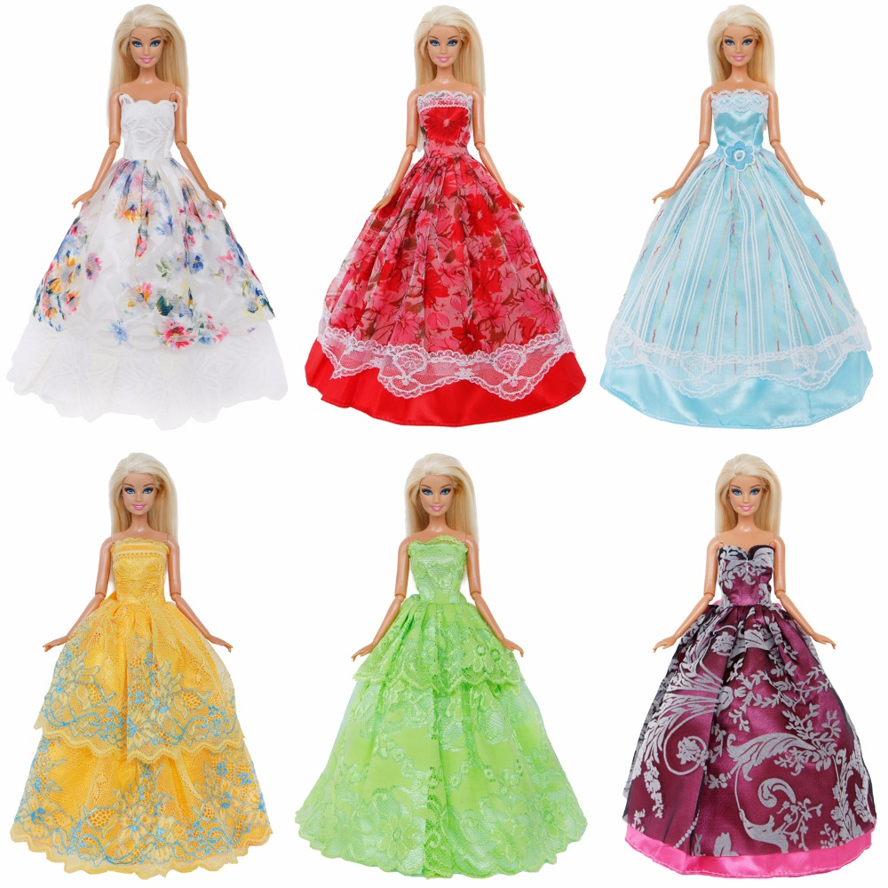 Random 1 Pcs Wedding Party Dress Princess Ball Gown Bridal Lace Skirt Accessories Clothes For Barbie Doll Baby Girl Toy