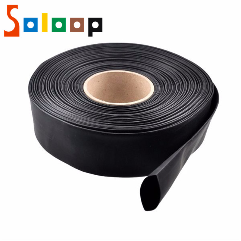 SOLOOP 1m PVC Heat Shrink Tubing Electronic Insulation Materials Black 30/40/46/50/60/70/86mm Wide For Lipo Battery