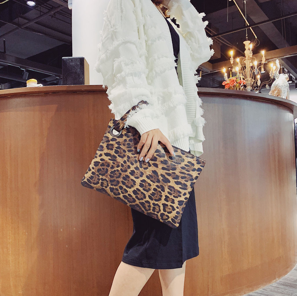 Shoulder-Bag Handbags Purses Clutch Leopard Vintage Female Womens' Fashion For Pouch