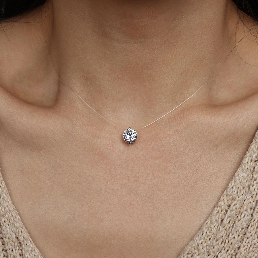 Циркониевый кулон, блестящий чокер для женщин, ожерелье, бижутерия, прозрачная невидимая линия моды