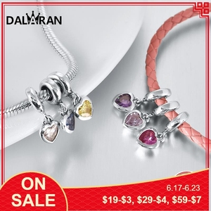 DALARAN 12-Color Heart Shaped Birth Stone Charms 925 Sterling Silver Beads DIY Bracelets Necklaces For Women Jewelry Making Gift