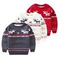 Niños Muñeco de nieve de Navidad Suéteres Muchachas de Los Bebés de Dibujos Animados de Punto Jersey de Otoño Invierno Suéter encantador Suéter Embroma la Ropa