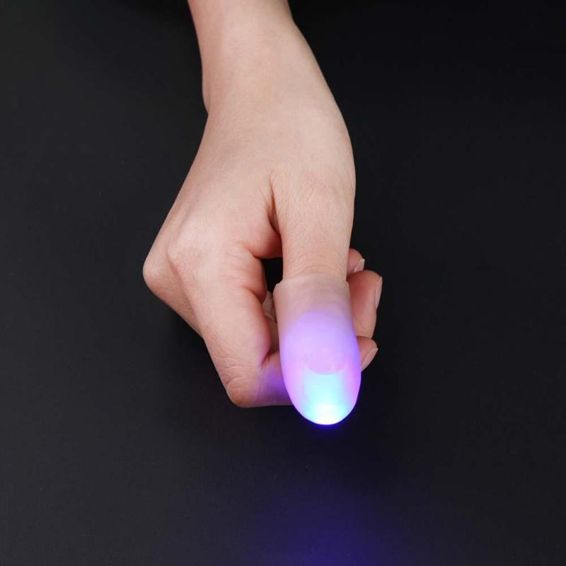 LED Fake Finger Lighting Flashing Glow Finger Mittens Cool Party Lamp Rave Light Festive Event Party Supplies Luminous Gift