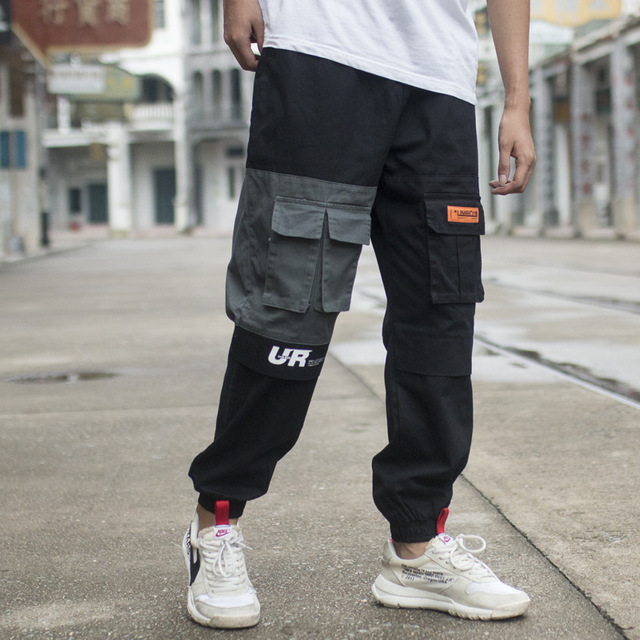 Pants Men Color Patchwork Casual Jogger Fashion Tactical Trousers Tide Harajuku Streetwear