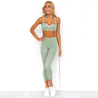 Women's Gym Clothing Yoga Suits for Sport Bra Wear for Lady Female Two Pieces Sporting Suit Workout Clothing