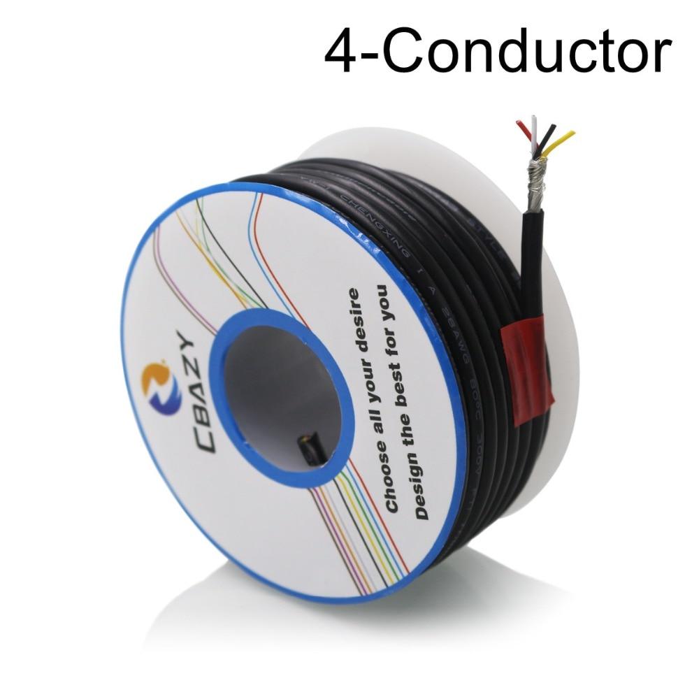 4C Black 6M UL 2547 26AWG Multi core control cable copper wire ...