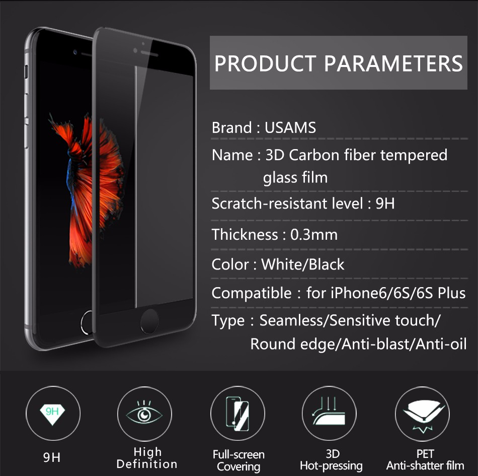 Temper glass screen protector for iphone 6 6s plus (2)