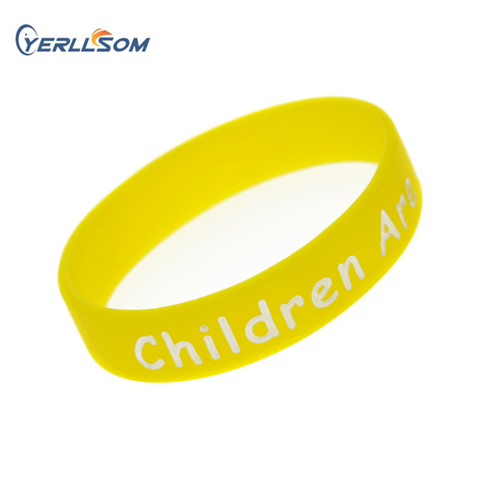 YERLLSOM 500PCS lot high quality rubber silicone bracelets relief logo for children s gifts YS060502