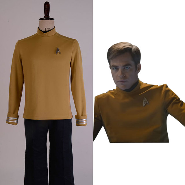 Star Trek Beyond Captain Kirk Cosplay Costume Cap Uniform Top Yellow Shirt+Badge
