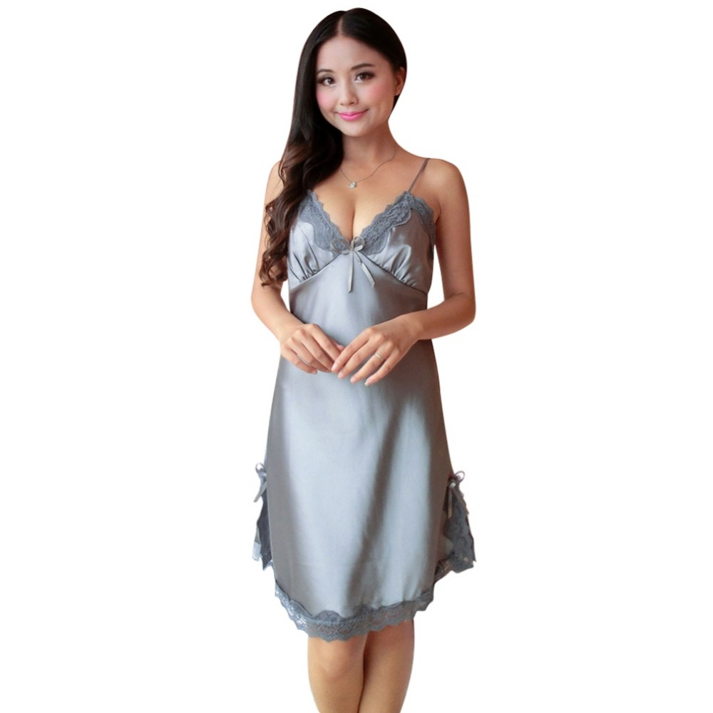Ladies Sexy Silk Satin Night Dress Sleeveless V-neck Nightgown Lace Sleepwear For Women W1